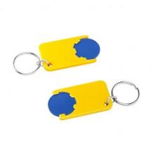 Winkelwagenmuntje 1-Euro in houder - blauw/geel
