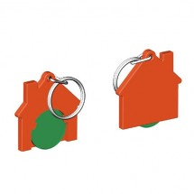 Winkelwagenmuntje 1-Euro in houder huis - groen/oranje