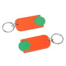 Winkelwagenmuntje 1-Euro in houder - groen/oranje