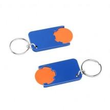 Winkelwagenmuntje 1-Euro in houder - oranje/blauw