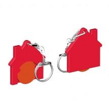 Winkelwagenmuntje 1-Euro in houder huis - oranje/rood