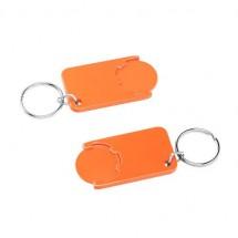 Winkelwagenmuntje 1-Euro in houder - oranje/oranje