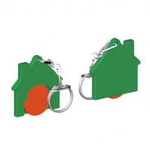 Winkelwagenmuntje 1-Euro in houder huis - oranje/groen