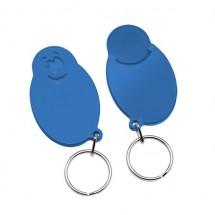"Winkelwagenmunthouder met 1-Euro-muntje ""Smiley"" - blauw/blauw"