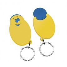 "Winkelwagenmunthouder met 1-Euro-muntje ""Smiley"" - blauw/geel"