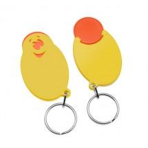 "Winkelwagenmunthouder met 1-Euro-muntje ""Smiley"" - oranje/geel"