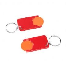 Winkelwagenmuntje 1-Euro in houder - oranje/rood