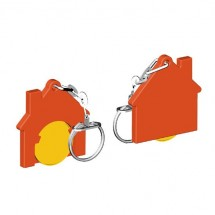 Winkelwagenmuntje 1-Euro in houder huis - geel/oranje