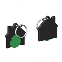 Winkelwagenmuntje 1-Euro in houder huis - groen/zwart