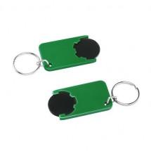 Winkelwagenmuntje 1-Euro in houder - zwart/groen