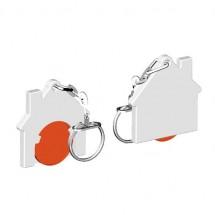 Winkelwagenmuntje 1-Euro in houder huis - oranje/wit