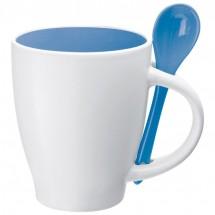 Porceleinen mok met lepel - blauw