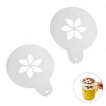 "Cappuccino sjabloon ""Bloem"" - transparant frost"