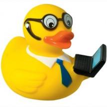 Badeend met laptop - geel