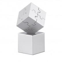 Metalen 3D puzzel KUBZLE - mat zilver