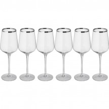 Set 6 witte wijnglazen - transparant