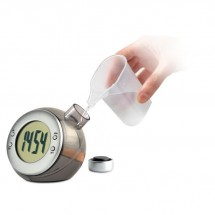 LCD klok op waterenergie DROPPY - mat zilver
