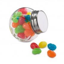 Glazen pot gevuld met snoepjes BEANDY - gekleurd