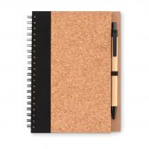 Kurk notitieboek met pen SONORA PLUSCORK - zwart