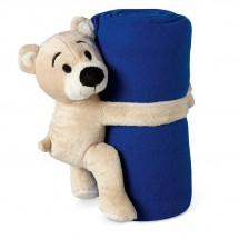Fleece deken met beer MANTA - blauw