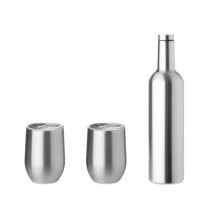 Set van 2 bekers en drinkfles CHIN SET - zilver mat