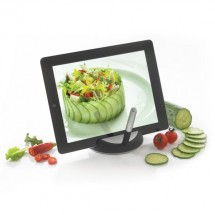 Chef tablet standaard met touchpen, zwart/zilverkleurig