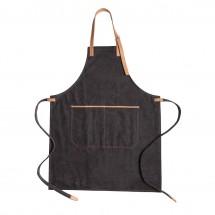 Deluxe canvas keukenschort - zwart
