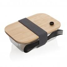 Glazen lunchbox met bamboe deksel - transparant