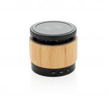 Bamboe 3W speaker met draadloze oplader - bruin/zwart