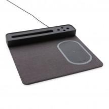 Air muismat met 5W draadloze oplader en USB - zwart