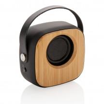 Bamboe 3W draadloze fashion speaker, zwart - zwart
