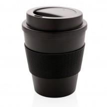 Herbruikbare koffiebeker met schroefdop 350ml - zwart