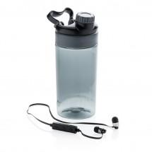 Lekvrije sportfles met draadloze koptelefoon, zwart