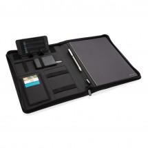 Air 5W rPET A4 portfolio met draadloze oplader, zwart - zwart