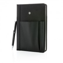 Hervulbaar notitieboek en pen set - zwart
