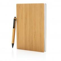 A5 Bamboe notitieboek & pen set, bruin - bruin