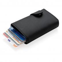 Standaard aluminium RFID kaarthouder met PU portemonnee, zwa - zwart