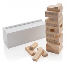 Deluxe houtblok stapelspel - wit