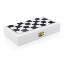 Luxe 3-in-1 bordspel in houten doos - wit