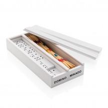 Deluxe mikado/domino in houten doos - wit