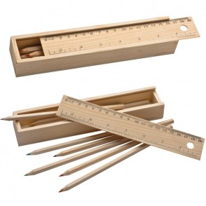 8 kleurpotloden in houten box