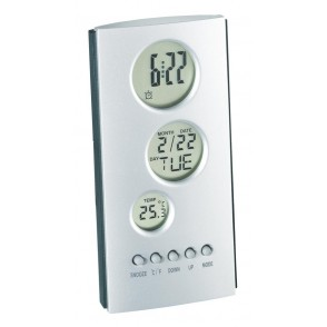 LCD alarm clock Tower, silver/ grey