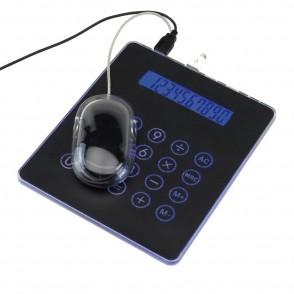Mousepad w/  USB hub + calculator,black