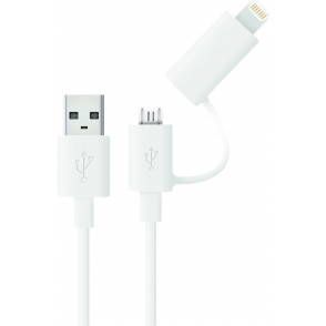 2-in-1 micro USB kabel met MFI iPhone 5/6 adapter-opzetstuk, oprolbaar