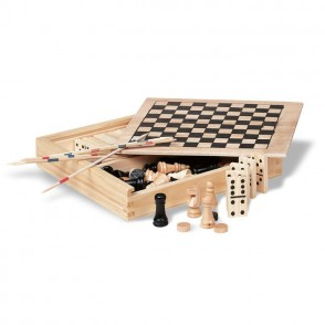 4 Spelletjes in houten doos TRIKES