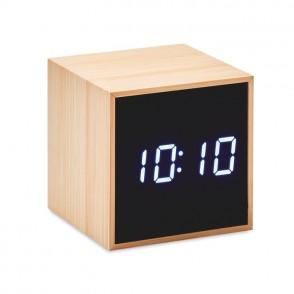 Bamboe klok vierkant met LED MARA CLOCK
