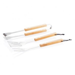 3-delige bamboe barbecue set, bruin