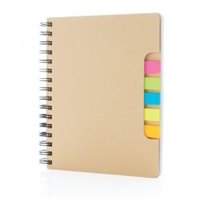 A5 Kraft spiraal notitieboek met memo's, bruin