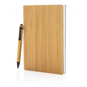 A5 Bamboe notitieboek & pen set, bruin