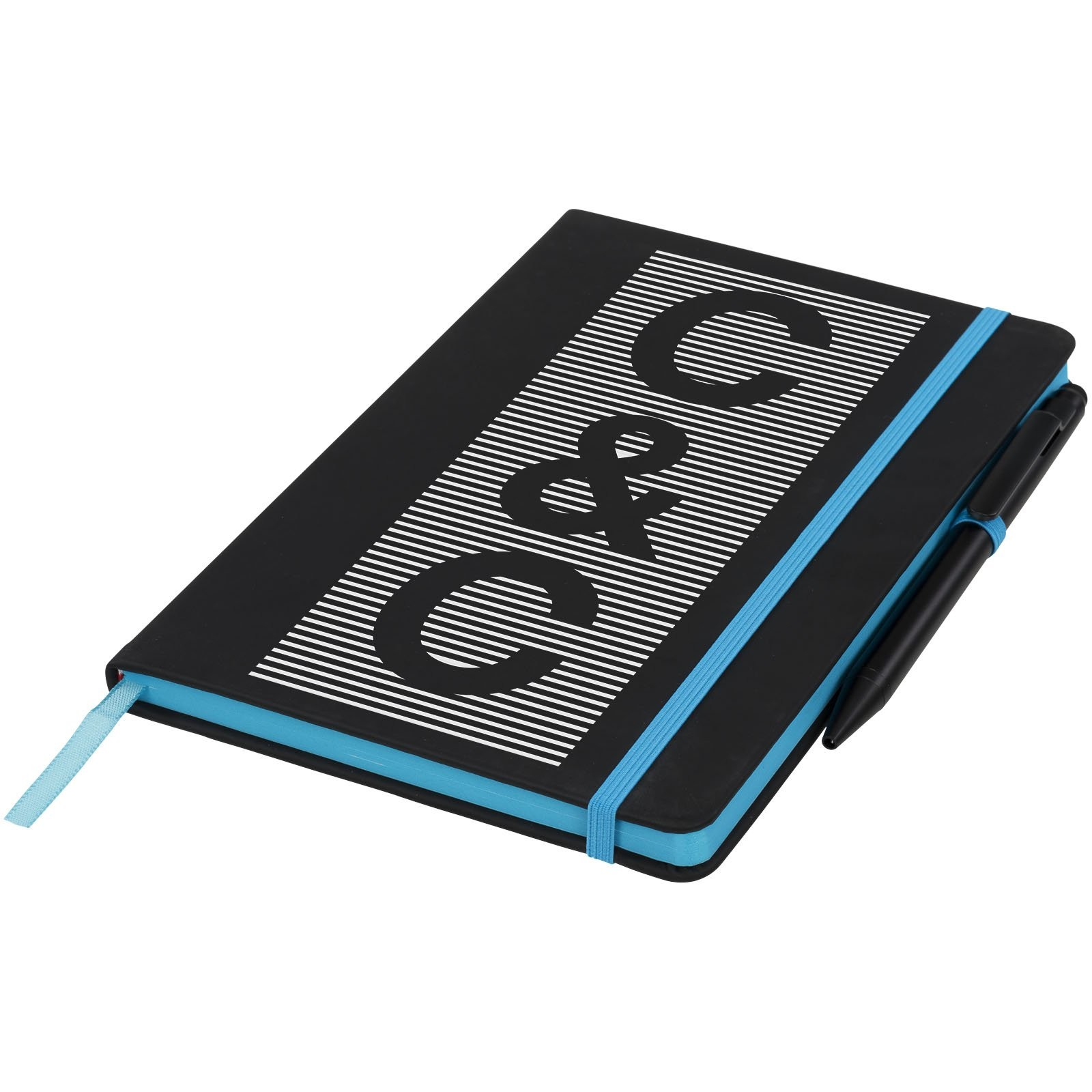 A5 schwarzes Notizbuch mit farbigem Rand, Ansicht 3